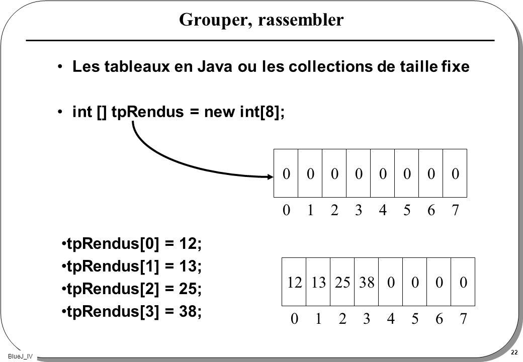 Grouper, rassembler Les tableaux en Java ou les collections de taille fixe. int [] tpRendus = new int[8];